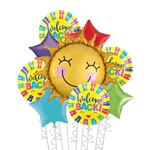 Multicolor Welcome Back Sunshine Deluxe Balloon Bouquet, 9pc Image #1