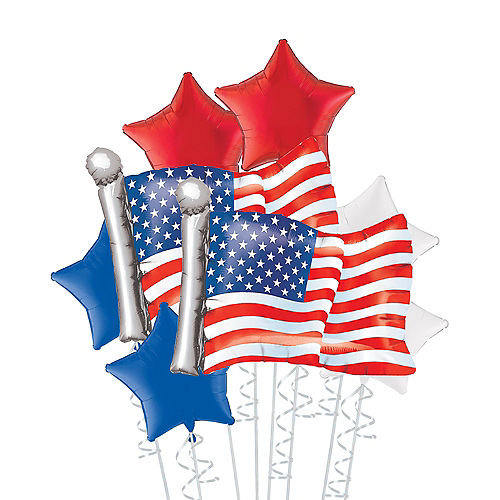 American Flag Deluxe Balloon Bouquet, 8pc Image #1