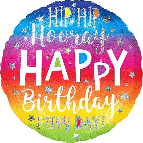 Rainbow Hip Hip Hooray Happy Birthday Deluxe Balloon Bouquet, 9pc Image #6