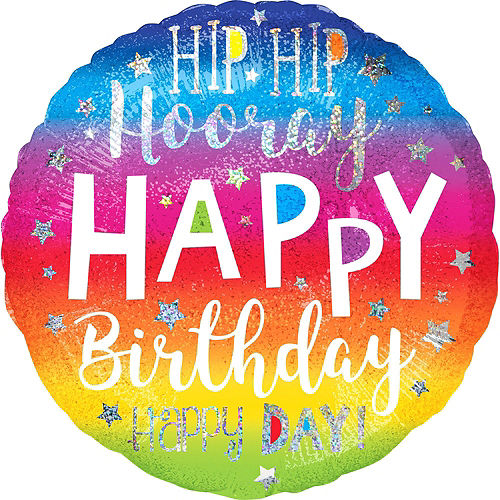 Rainbow Hip Hip Hooray Happy Birthday Deluxe Balloon Bouquet, 9pc Image #7