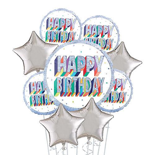 Prismatic Rainbow Happy Birthday Deluxe Balloon Bouquet, 9pc Image #1