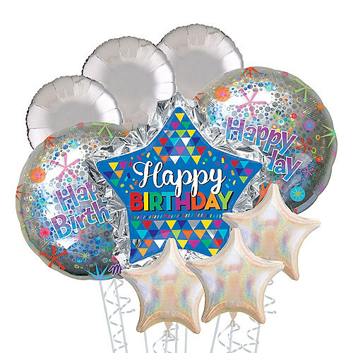 Blue Star Happy Birthday Deluxe Balloon Bouquet, 9pc Image #1