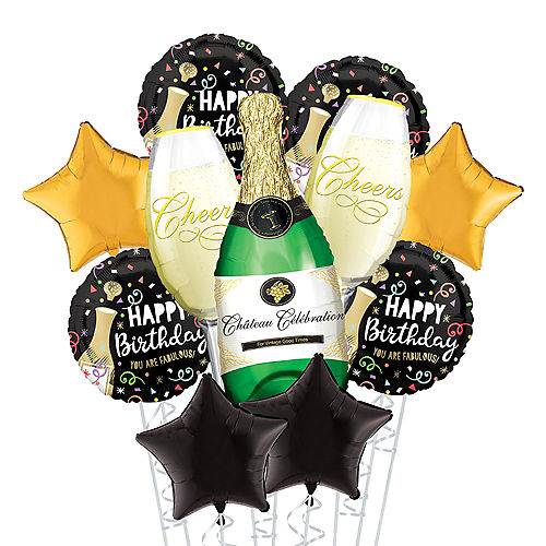 Black & Gold Birthday Bubbly Deluxe Balloon Bouquet, 11pc Image #1