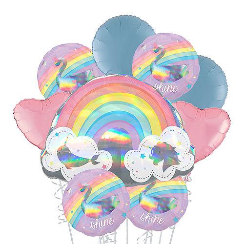 Iridescent Magical Rainbow Deluxe Balloon Bouquet, 9pc Image #1