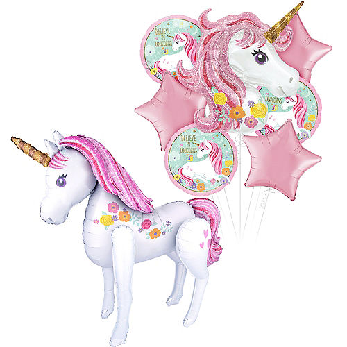 Magical Unicorn Deluxe Airwalker Balloon Bouquet, 8pc Image #1