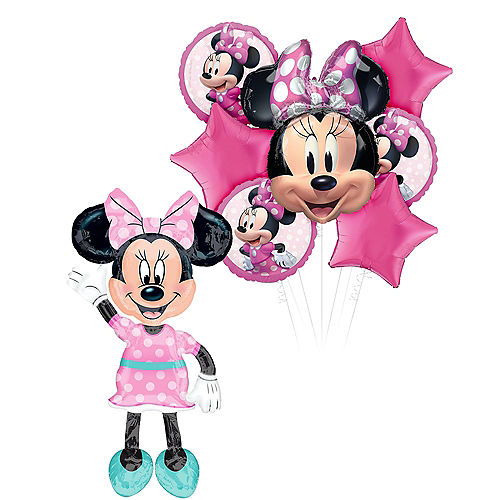 Minnie Mouse Deluxe Airwalker Balloon Bouquet, 8pc Image #1