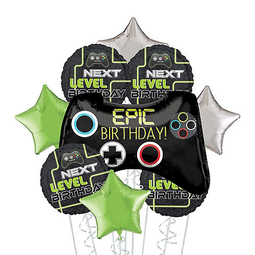 Level Up Birthday Deluxe Balloon Bouquet, 9pc Image #1