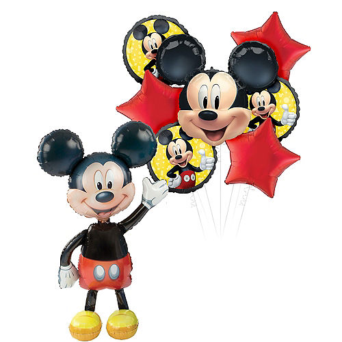 Mickey Mouse Deluxe Airwalker Balloon Bouquet, 8pc Image #1