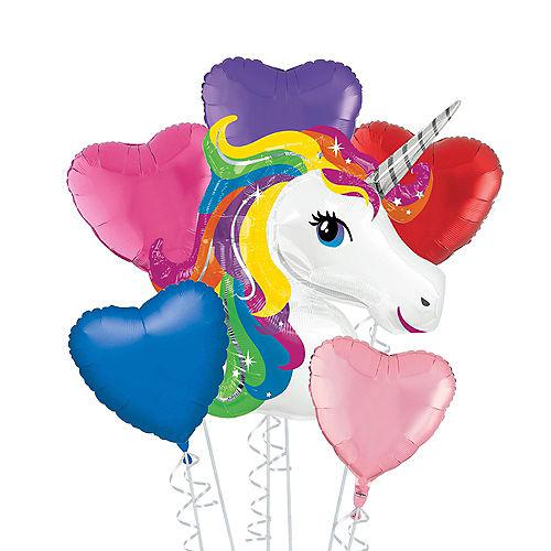 Rainbow Unicorn Deluxe Balloon Bouquet, 6pc Image #1