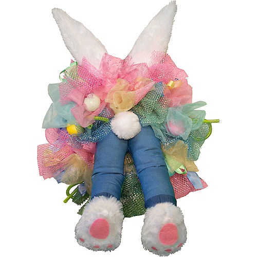 Animated Kicking Easter Bunny Wreath Image #2