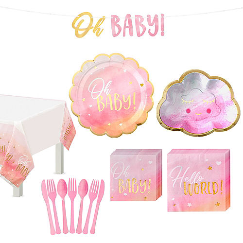 Pink & Metallic Gold Oh Baby Tableware Kit for 8 Guests Image #1