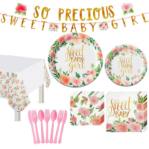 Floral Baby Tableware Kit for 8 Guests Image #1