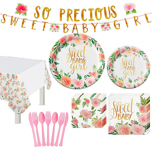 Floral Baby Tableware Kit for 16 Guests Image #1