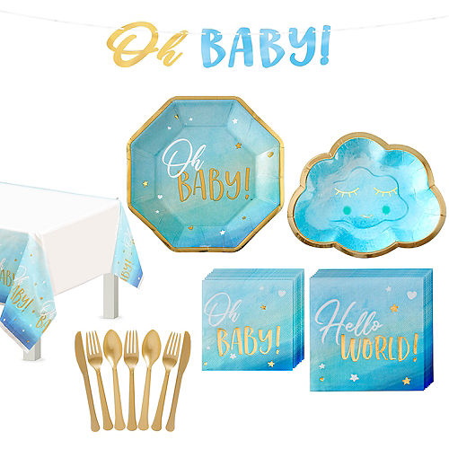 Blue & Metallic Gold Oh Baby Tableware Kit for 8 Guests Image #1