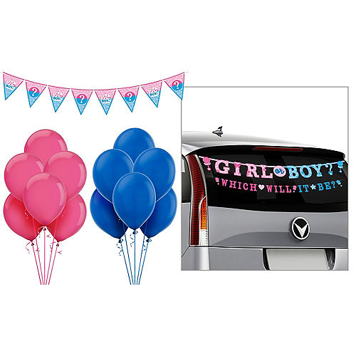 Girl or Boy Gender Reveal Car Decorating Kit Image #1