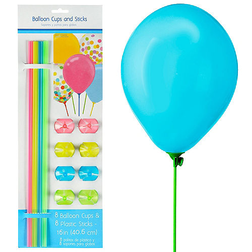 Multicolor Balloon Cups & Sticks, 8ct Image #1