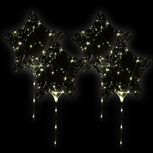 LED Light-Up Clear Star Balloons, 11in, 4ct - Crystal Clearz Image #1