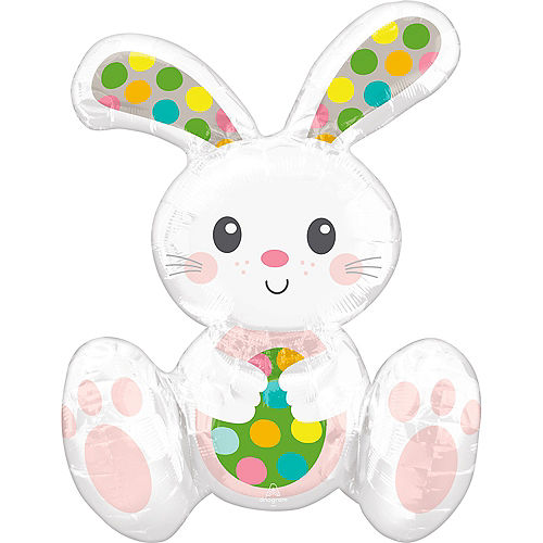 Air-Filled Sitting Easter Bunny Foil Balloon, 15in x 20in Image #1