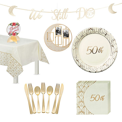 Gold 50th Anniversary Tableware Kit for 16 Guests Image #1
