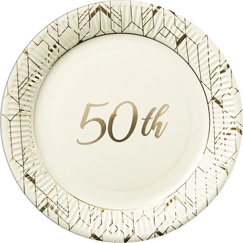 Gold 50th Anniversary Tableware Kit for 16 Guests Image #2