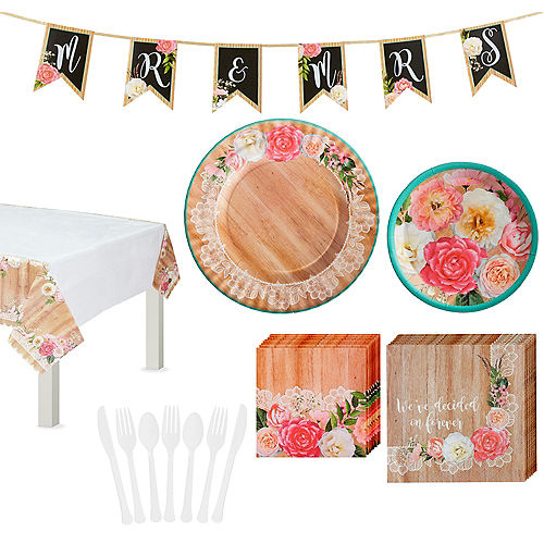 Floral & Lace Rustic Wedding Tableware Kit for 8 Guests Image #1