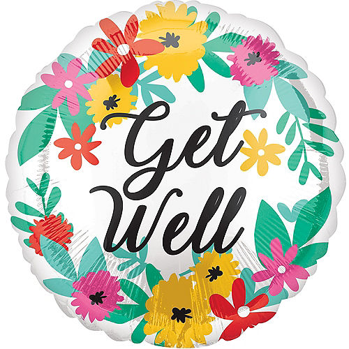 Tropical Flower Get Well Foil Balloon, 18in Image #1