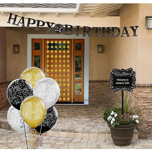 Black, Silver & Gold Sparkling Celebration Yard Decorating Kit Image #1