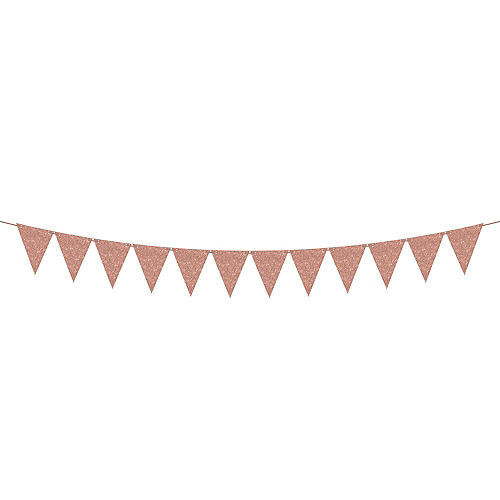 Mini Create Your Own Glitter Rose Gold Pennant Banner, 20ft Image #1