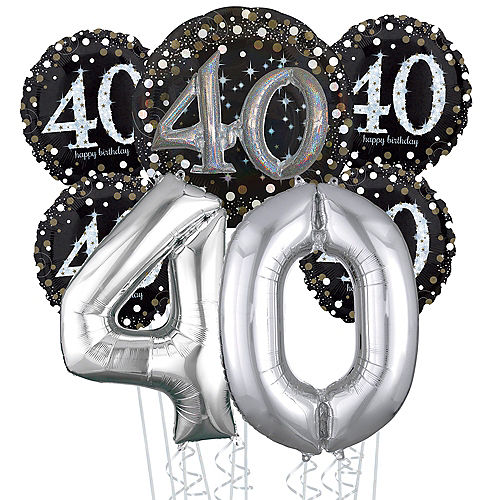 Sparkling Celebration 40th Birthday Deluxe Balloon Bouquet, 7pc Image #1