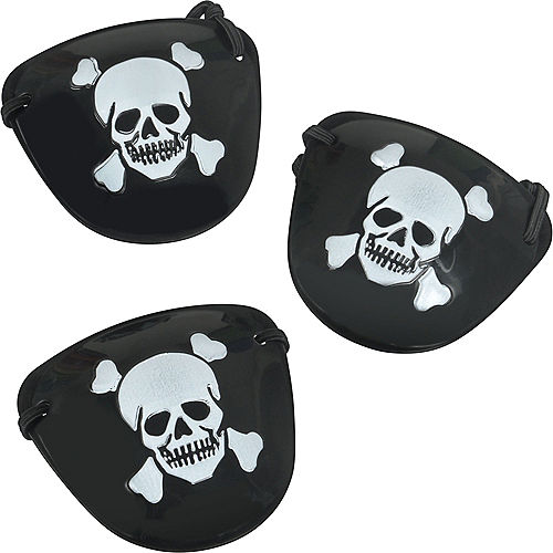 Black Pirate Eye Patches 12ct Image #1