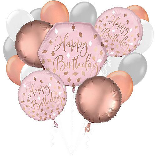 Blush Pink & Rose Gold Birthday Balloon Bouquet, 17pc Image #1