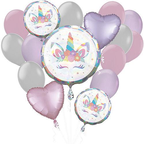 Iridescent Unicorn Balloon Bouquet, 17pc Image #1