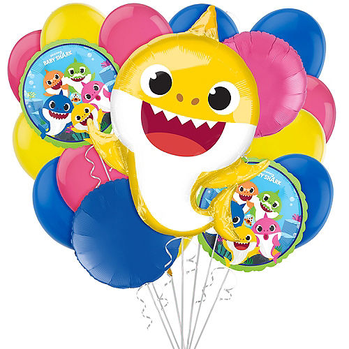 Baby Shark Balloon Bouquet, 17pc Image #1