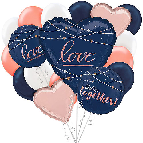 Navy & Rose Gold Wedding Balloon Bouquet, 17pc Image #1