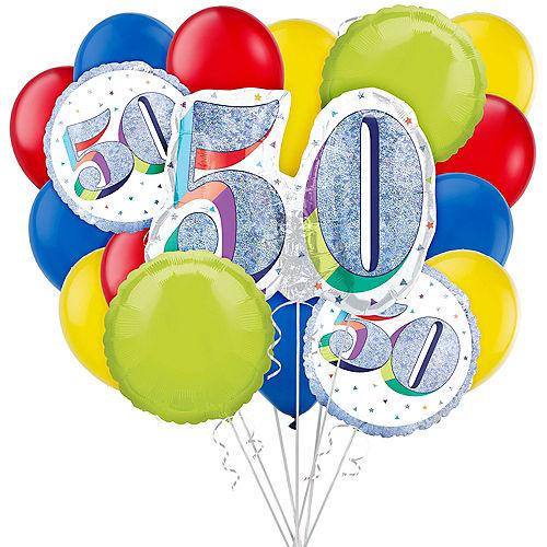 Prismatic 50th Birthday Balloon Bouquet, 17pc Image #1