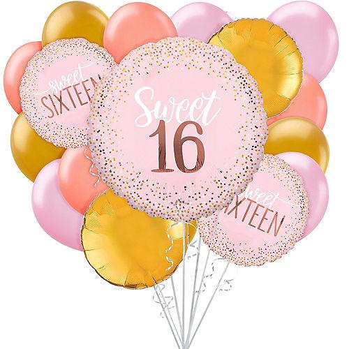 Blush Pink & Gold Sweet 16 Balloon Bouquet, 17pc Image #1