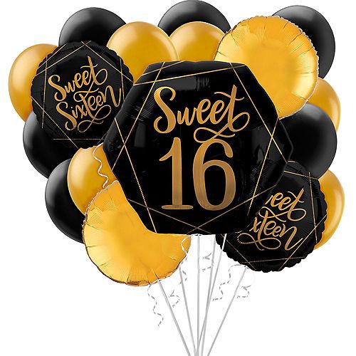 Black & Gold Sweet 16 Balloon Bouquet, 17pc Image #1