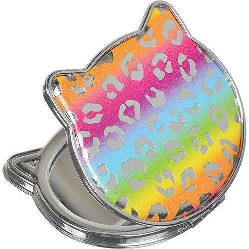 Rainbow Leopard Print Cat Compact Mirror Image #1