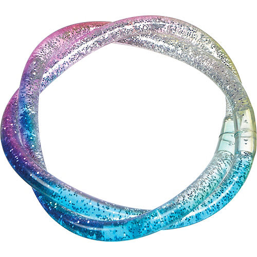 Blue, Clear & Purple Twisted Glitter Water Bracelet Image #1