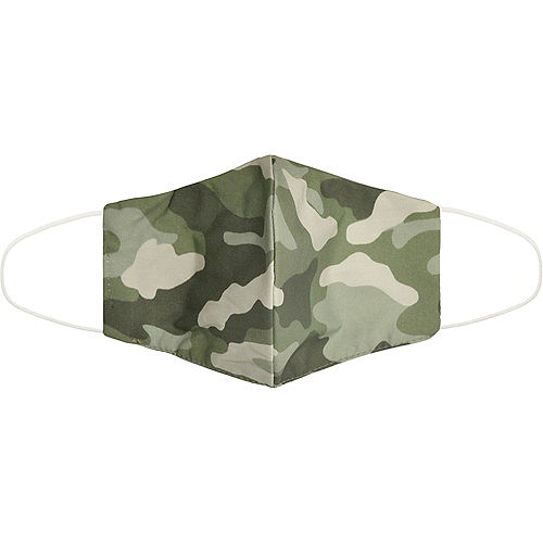 Adult Olive Green Camo Face Mask Image #1
