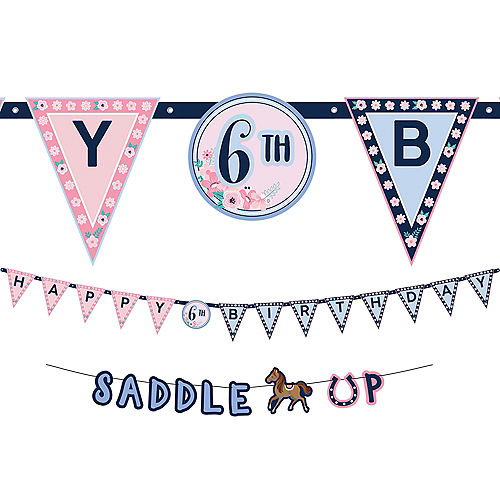 Saddle Up Personalized Birthday Banner Kit, 2ct Image #1