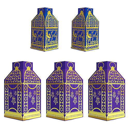 Eid Paper Lanterns, 5ct, Hanging Decorations, 3 Large Lanterns (8.5in), 2 Small Lanterns (6.5in) Image #1
