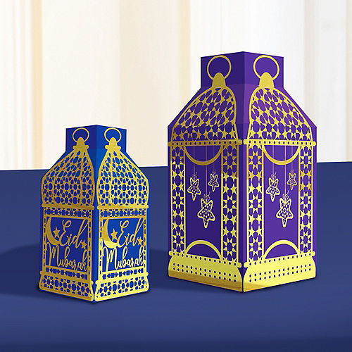 Eid Paper Lanterns, 5ct, Hanging Decorations, 3 Large Lanterns (8.5in), 2 Small Lanterns (6.5in) Image #2