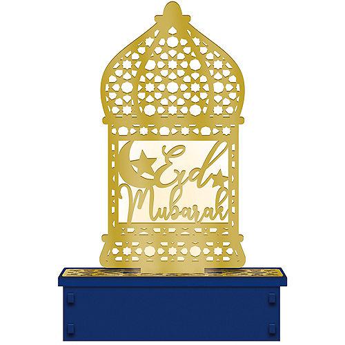 Light-Up Wooden Star & Crescent Eid Lantern Decoration, 5in x 7.25in Image #1