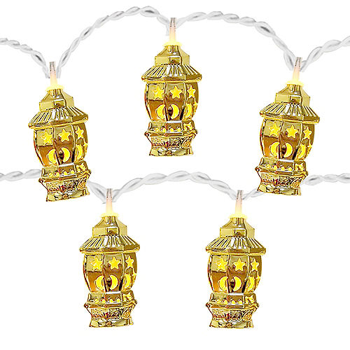Gold Star & Crescent Fanous Lantern String Lights, 65in Image #1