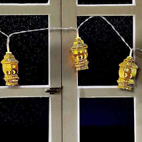 Gold Star & Crescent Fanous Lantern String Lights, 65in Image #2
