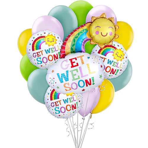 Radiant Rainbow Get Well Soon Balloon Bouquet, 16pc Image #1