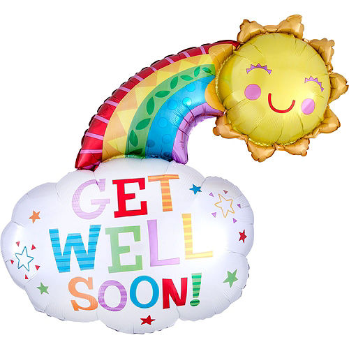 Radiant Rainbow Get Well Soon Balloon Bouquet, 16pc Image #7