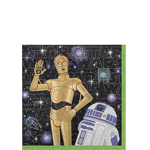 C-3PO & R2-D2 Paper Beverage Napkins, 5in, 16ct - Star Wars Galaxy of Adventures Image #1