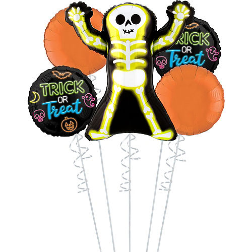 Trick or Treat Skelly Halloween Balloon Bouquet, 5pc Image #1